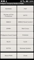 Screenshot of Philippine Emergency Numbers