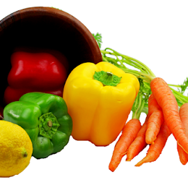 by Dipali S - Food & Drink Fruits & Vegetables ( peppers, red, fresh, green, vegetables, white background, carrots, vegetarian, yellow )