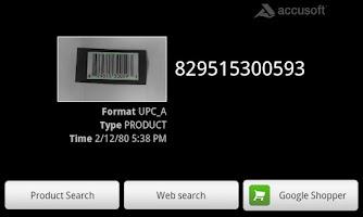 Screenshot of Accusoft Barcode Scanner