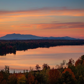 Mount Katahdin by Kelsie Anderson - Landscapes Mountains & Hills ( reflection, foliage, fall, mount katahdin, katahdin, river )
