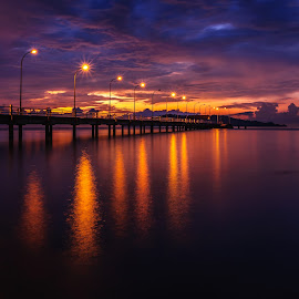 Lights Of The Night by Eric Tai - Landscapes Sunsets & Sunrises ( waterscape, blue hour, sunset, twilight, long exposure, night, jetty, longexposure,  )