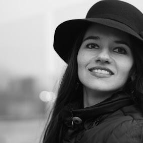 Goodbye smile by Florin Cepraga - Black & White Portraits & People ( woman, b&w, portrait, person, , Model, Portrait, Untouched, Unedited, Non-photoshop )