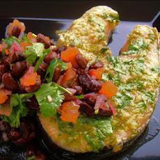 Seared Spiced Salmon Steaks With Black Bean Salsa