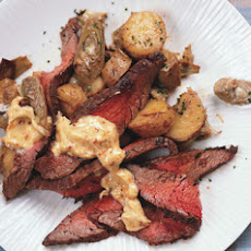 Flank Steak with Artichoke-Potato Hash and Aleppo-Pepper Aioli