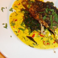 Spicy Indian Mackerel with a Turmeric Yoghurt Sauce