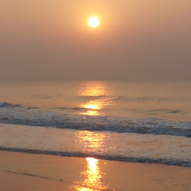 RAY OF HOPE ------GLITTERED BY SUN  by Sankha Mullick - Nature Up Close Water ( nature, sunset, seascape, beach, sun )