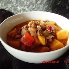 Spicy Sweet Potato and Black Eye Bean Soup