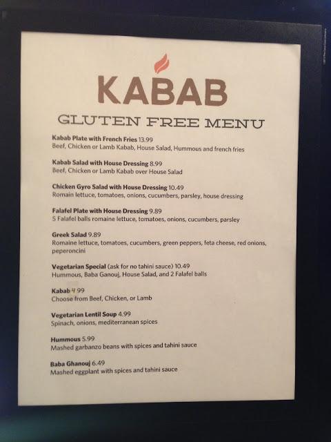 KABAB's gluten free menu!