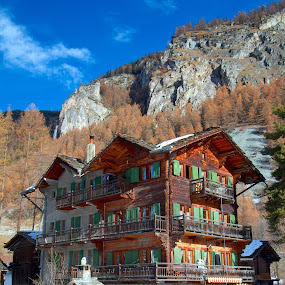 Lodging amid the Alps by Joe Proctor - Buildings & Architecture Office Buildings & Hotels ( sky, mountain, blue, hotel, alps )
