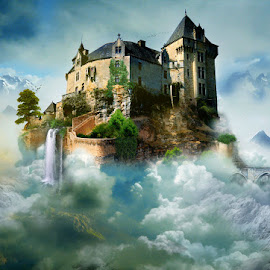 CASTLE IN THE SKY by Nikos Apelaths - Digital Art Things ( fantasy, clouds, mountains, sky, waterfall, castle )