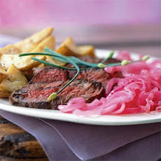 Shallot-Rubbed Steak with Roasted Potatoes and Pickled Onions
