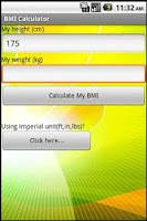Screenshot of BMI (metric)