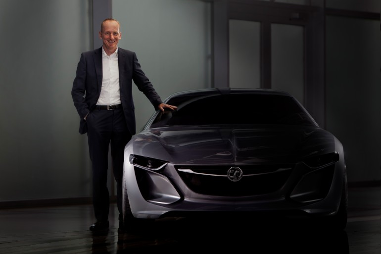Vauxhall CEO Dr. Karl-Thomas Neumann, with the Monza Concept.