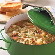 Cabbage and Bacon Soup with Garlic Bread