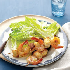 Bread and Shrimp Skewers with Romaine Salad