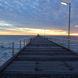 Jetty at Sunset by Pamela Howard - Buildings & Architecture Bridges & Suspended Structures ( clouds, structure, sky, seafood, sunset, jetty )