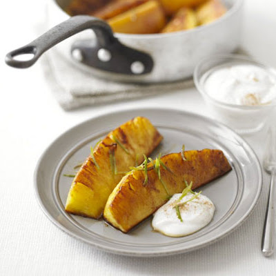 Spiced Glazed Pineapple With Cinnamon Fromage Frais
