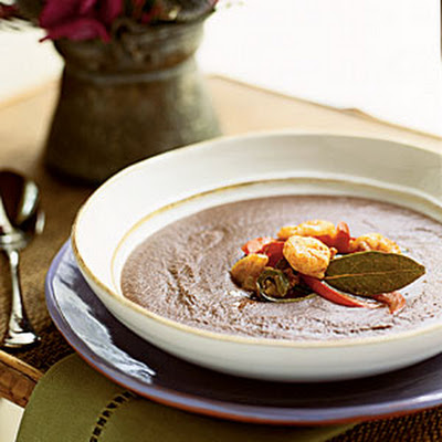 Black Bean Bisque with Rock Shrimp Escabèche