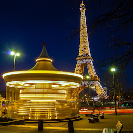 Carrousel at Eifel Tower in Paris by Kurt Bogaert - City,  Street & Park  Night ( paris, tower, carrousel, night, city trip, eifel )