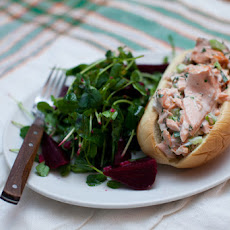 Salmon Roll Sandwiches with Baby Beet & Pea Tendril Salad
