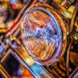 Headlamp by Dobrinovphotography Dobrinov - Transportation Motorcycles ( headlamp, car, single object, fashion, old, land vehicle, circle, yellow, transportation, rusty, close to, front view, retro revival, macro, style, metal, glass, motorcycle, closed, mode of transport, rust, classic, black, abstract, 1940-1980 retro-styled imagery, art, headlight, old-fashioned, steel, close-up, broken, luxury, lighting equipment, facade, simplicity, textured, outdoors, lamp, antique )