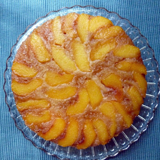 Upside Down Peach Rum Cake