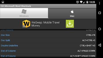 Screenshot of Ctrl: Microsoft Word Shortcuts
