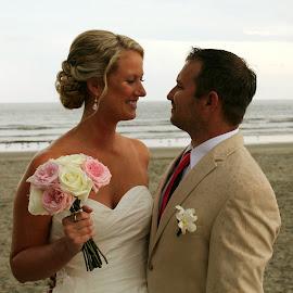 by Lauren Young - Wedding Bride & Groom ( wedding, beach, bride and groom, beach wedding, south carolina )
