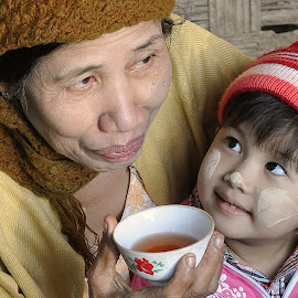 Grandmother and Granddaughter  by Ko Naing - People Family