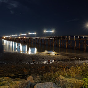 White Rock Pier at Night by Sunny Zheng - Landscapes Waterscapes ( white rock pier, canada, night photography, reflections, night, white rock, british columbia, nightscape,  )