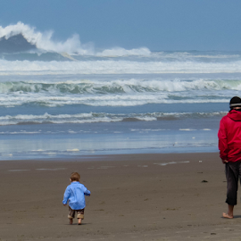Father and Son by Vonelle Swanson - People Family ( sand, nature, pacific ocean, oregon coast, beach, boy, man )