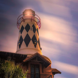 Light House in Destin  by Paul Zeinert - Buildings & Architecture Other Exteriors ( north america, sunset, florida, lighthouse, resturant, night, harbor side, usa, destin )