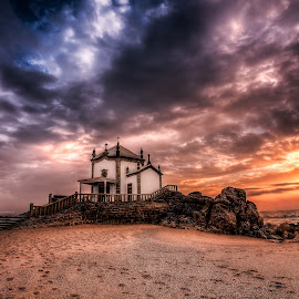 The Lord of stone II  by Pedro Silva - Landscapes Sunsets & Sunrises ( miramar, hdr, sunset, sea, lord of stone, pedrosilvaimages, beach, chapel, portugal, pedro silva )