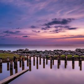 The Beginning Of Twilight by Eric Tai - Landscapes Sunsets & Sunrises ( reflection, blue hour, sunset, twilight, long exposure, beach, landscape, longexposure,  )