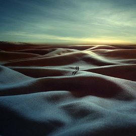 Friendship in the Cloth Desert by Budi Cc-line - Digital Art Places ( think, clothes, landscape )