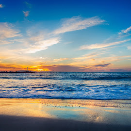 Hollywood Beach Sunset by Angel McNall - Landscapes Beaches ( orange, sand, reflection, blue, california, california beach, beach sunset, oxnard, surf,  )