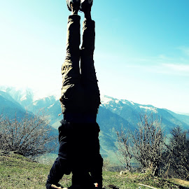 Hand stand.. by Saumy Nagayach - Novices Only Street & Candid ( hand, hills, mountains, ice, yoga, people )