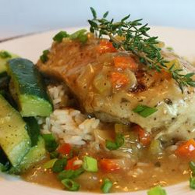 Braised Chicken Breasts in Tasty Mirepoix Ragout