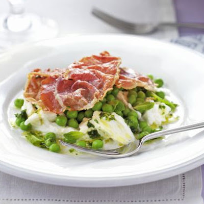 Crisp Prosciutto, Pea & Mozzarella Salad With Mint Vinaigrette