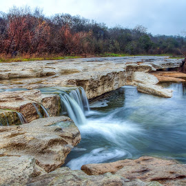 McKinney Falls Colorado River by Robert Marquis - Landscapes Prairies, Meadows & Fields ( waterfalls, nature, texas, waterfall, waterways, mckinney falls, rivers, landscapes, landscape )