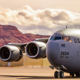 by Scott Stringham - Transportation Airplanes ( canon, generic, c-17, graphic, photograph, land, stringham, let there be light, storm, spring, canon 7d, photography, escape, saint george, look at me, dslr, looking, rustlingleaf, aviation, boeing c-17 globemaster iii, air force, buy me a beer, rld, united states air force, boeing, my other home, air force week, once upon a time, scott stringham, clouds, st. george, wind, rustling leaf design, desert, ut, convection, www.rustlingleafdesign.com, desert storm, air, globemaster iii, passing storm, get out side )