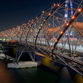 Marina Bay Singapore by Bert De Wilde - Buildings & Architecture Bridges & Suspended Structures ( lights, water, architecture, bridge, construction, singapore, city,  )