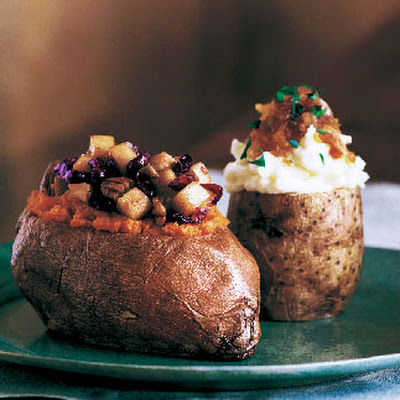 Baked Sweet Potatoes Stuffed with Cranberries, Pears, and Pecans