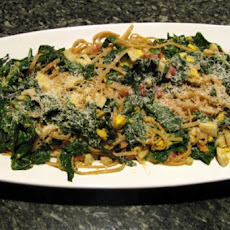 Spinach, Egg, and Pancetta with Linguine
