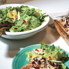 Escarole and Butter Lettuce Salad with Pomegranate Seeds and Hazelnuts
