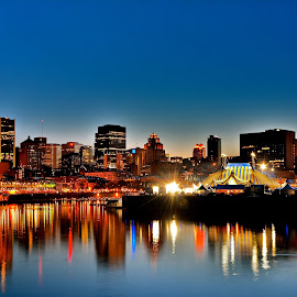 Blue Night Over Montreal by Antonio Edu - City,  Street & Park  Skylines