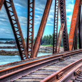 Pont ferrovière de Pabos Mills by Albert Picard - Buildings & Architecture Bridges & Suspended Structures ( hdr, waterscape, train, bridge, landscape )