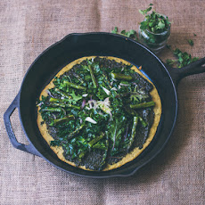 Spring Socca with Pesto, Kale, and Asparagus