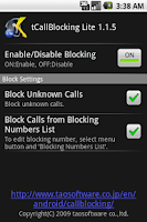 Screenshot of tCallBlocking Lite