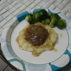 Bison Hamburger Steak in Vegetable Stock Gravy